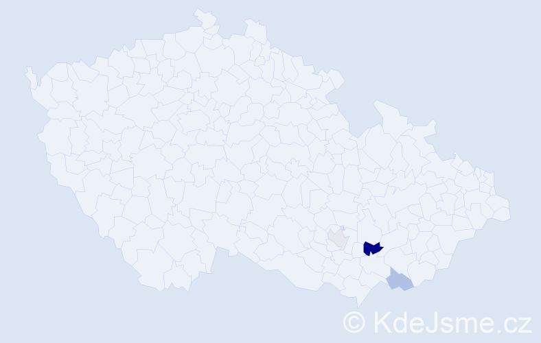 Příjmení: 'Farbjaková', počet výskytů 5 v celé ČR