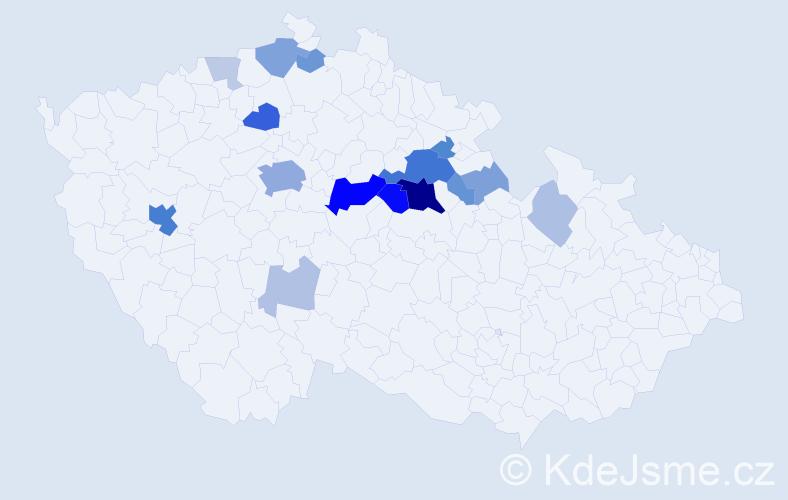 Příjmení: 'Křovák', počet výskytů 56 v celé ČR