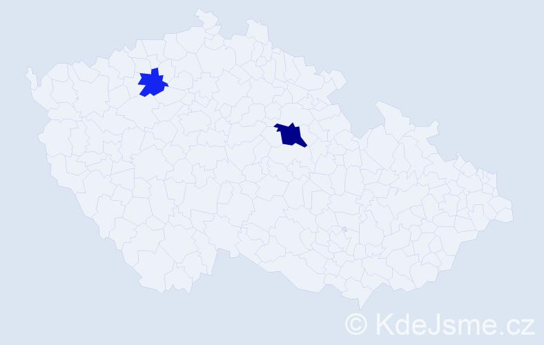 Příjmení: 'Jožiová', počet výskytů 4 v celé ČR