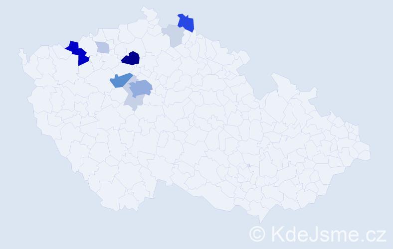 Příjmení: 'Cvekl', počet výskytů 35 v celé ČR