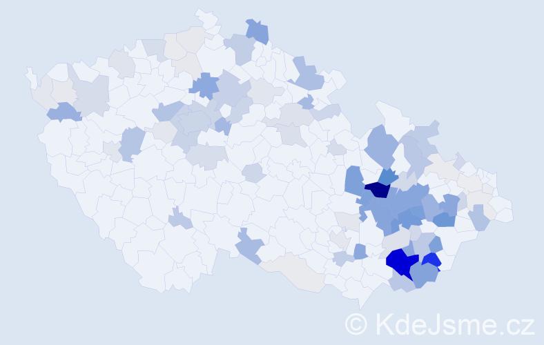 Příjmení: 'Huňková', počet výskytů 346 v celé ČR