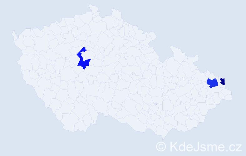 Příjmení: 'Hinčicová', počet výskytů 4 v celé ČR