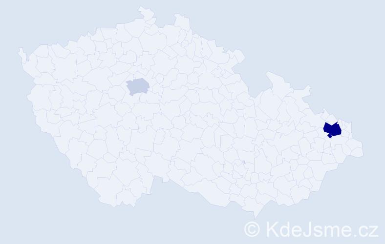 Příjmení: 'Czene', počet výskytů 9 v celé ČR