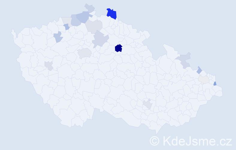 Příjmení: 'Goroĺová', počet výskytů 43 v celé ČR