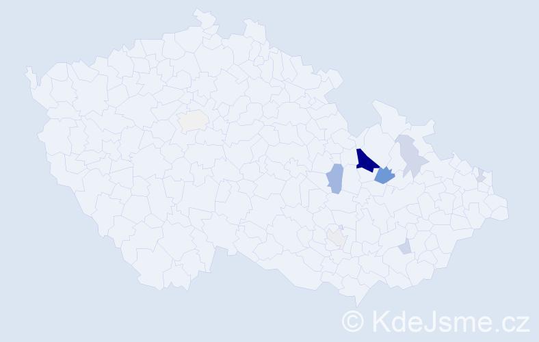 Příjmení: 'Koruna', počet výskytů 23 v celé ČR