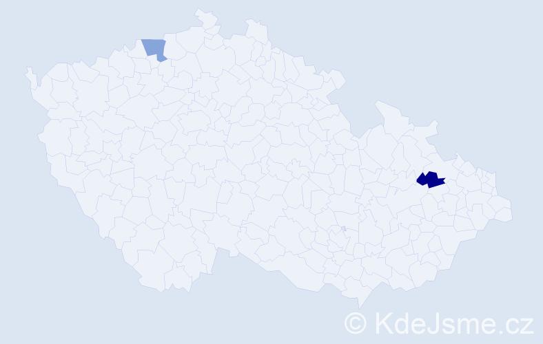 Příjmení: 'Kostolňák', počet výskytů 5 v celé ČR