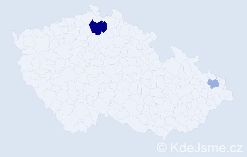 Příjmení: 'Emmelová', počet výskytů 3 v celé ČR
