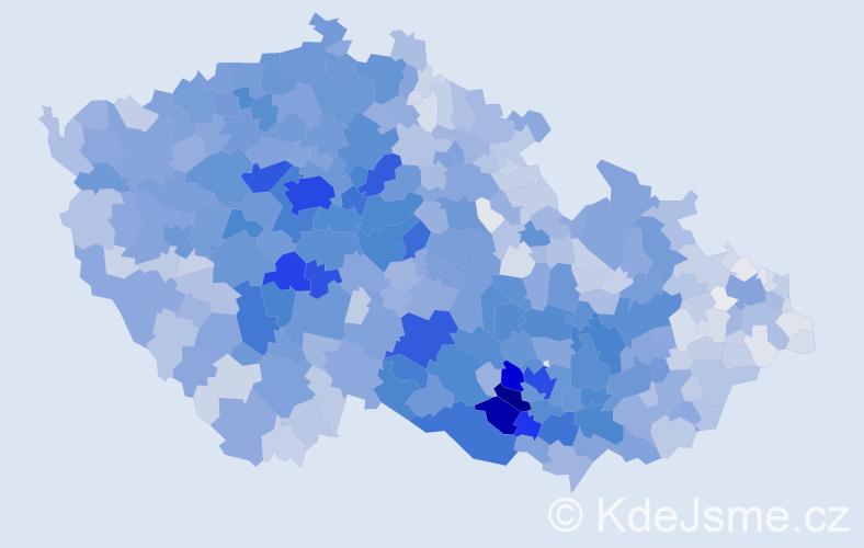 Příjmení: 'Procházková', počet výskytů 16821 v celé ČR