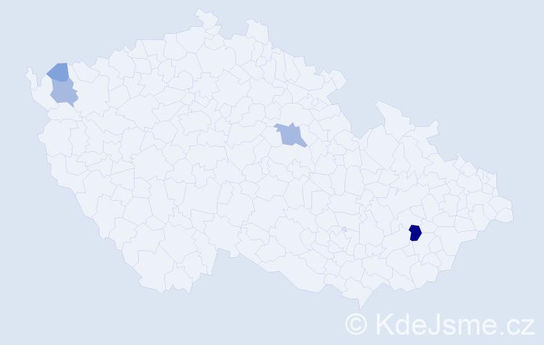 Příjmení: 'Čúzy', počet výskytů 14 v celé ČR