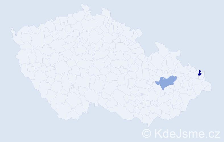 Příjmení: 'Haichel', počet výskytů 3 v celé ČR