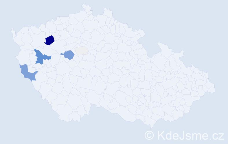 Příjmení: 'Cvachoučková', počet výskytů 13 v celé ČR