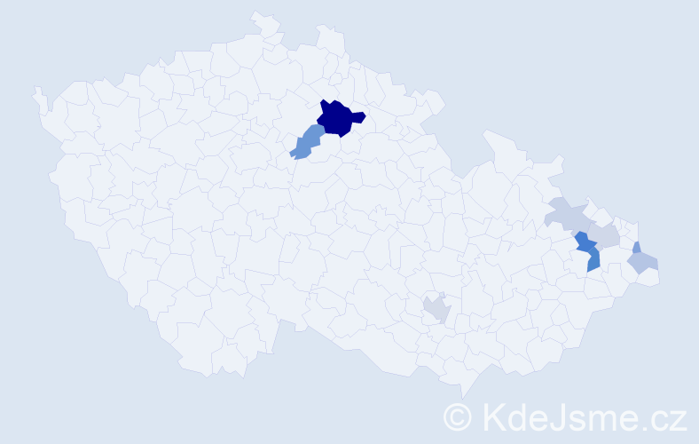 Příjmení: 'Bársonyová', počet výskytů 21 v celé ČR