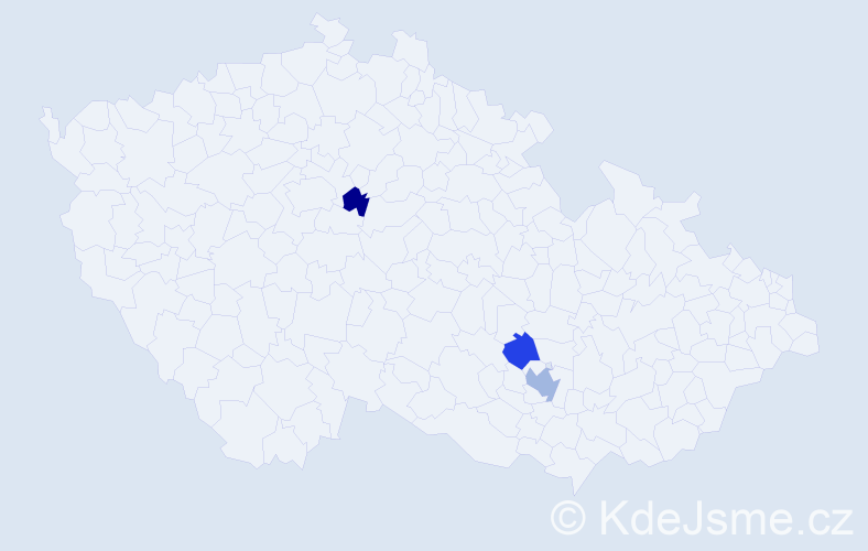 Příjmení: 'Gribovský', počet výskytů 4 v celé ČR