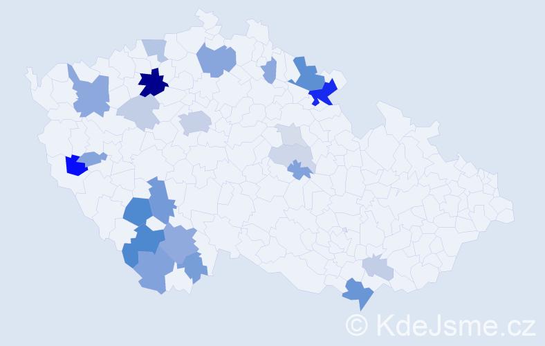 Příjmení: 'Červíčková', počet výskytů 70 v celé ČR