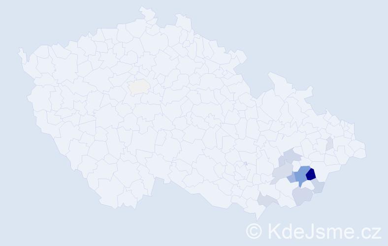 Příjmení: 'Jaroňková', počet výskytů 36 v celé ČR