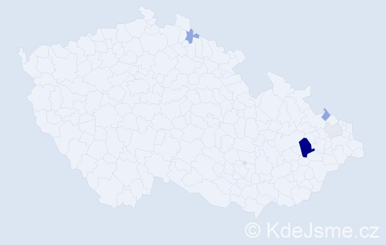 Příjmení: 'Fojtiková', počet výskytů 11 v celé ČR