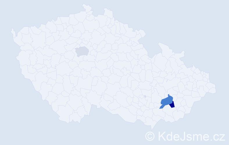 Příjmení: 'Kapalka', počet výskytů 3 v celé ČR