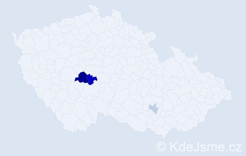 Příjmení: 'Kendel', počet výskytů 5 v celé ČR