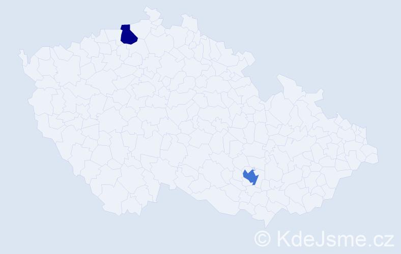 Příjmení: 'Dervišić', počet výskytů 7 v celé ČR