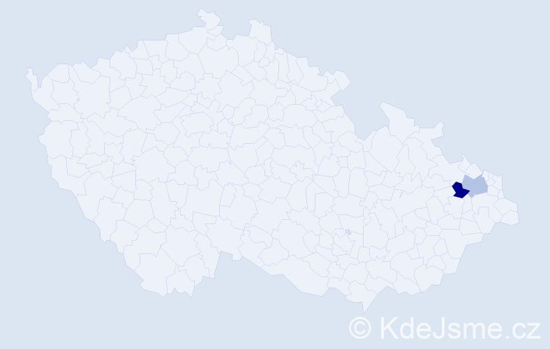 Příjmení: 'Hmura', počet výskytů 6 v celé ČR