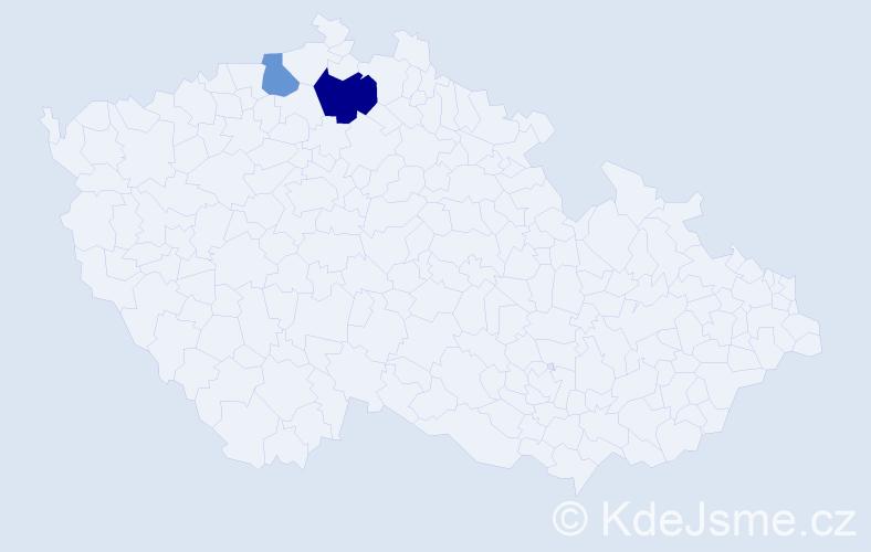 Příjmení: 'Hajžinová', počet výskytů 3 v celé ČR