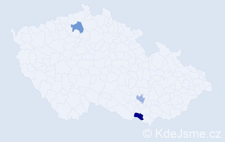 Příjmení: 'Kléber', počet výskytů 4 v celé ČR