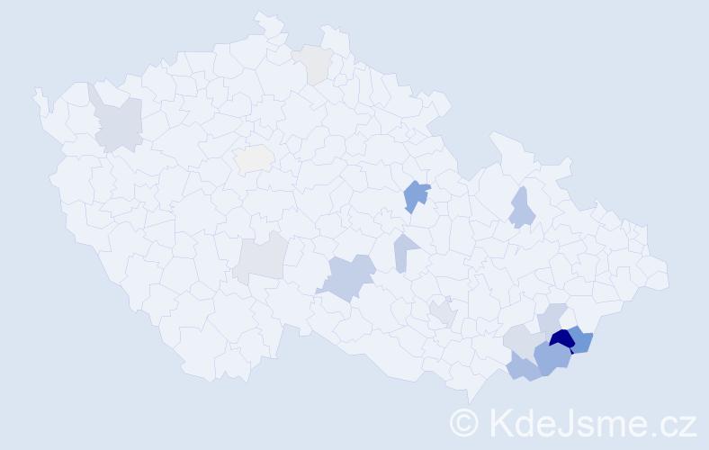 Příjmení: 'Bublák', počet výskytů 46 v celé ČR