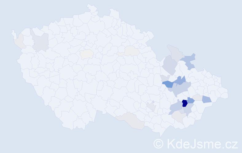 Příjmení: 'Gaja', počet výskytů 109 v celé ČR
