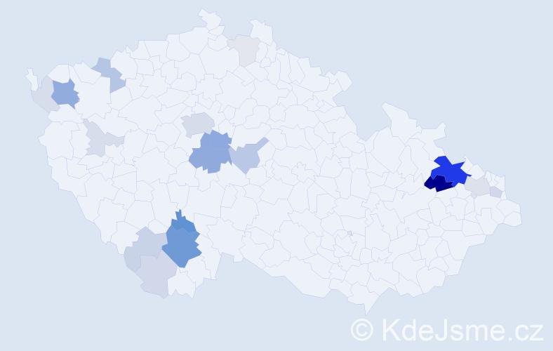 Příjmení: 'Čermín', počet výskytů 81 v celé ČR