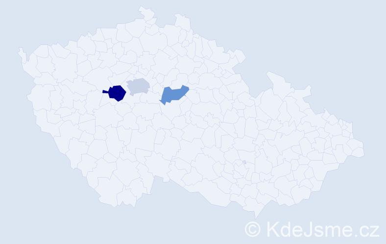 Příjmení: 'Knižák', počet výskytů 5 v celé ČR
