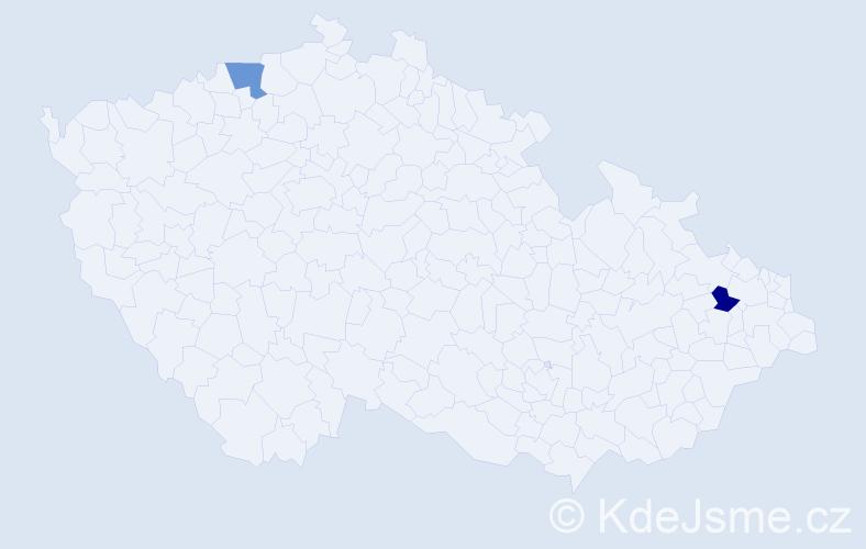 Příjmení: 'Ghaleb', počet výskytů 9 v celé ČR