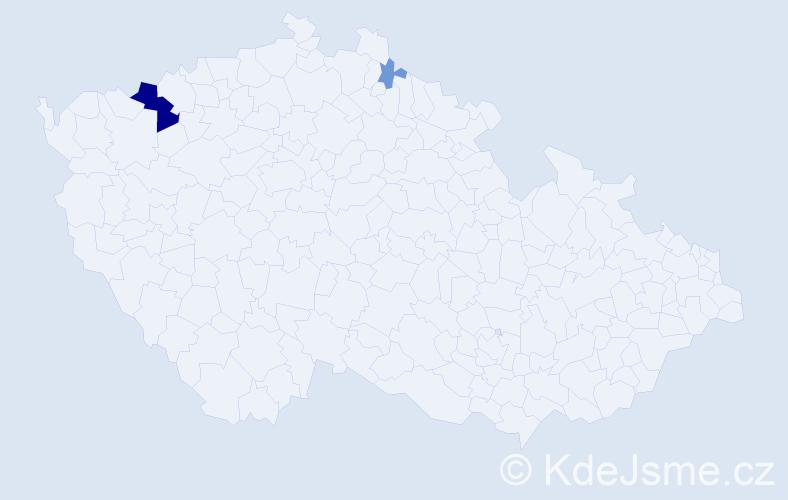 Příjmení: 'Kodítková', počet výskytů 7 v celé ČR