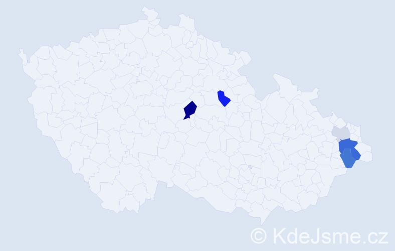 Příjmení: 'Kalanošová', počet výskytů 9 v celé ČR