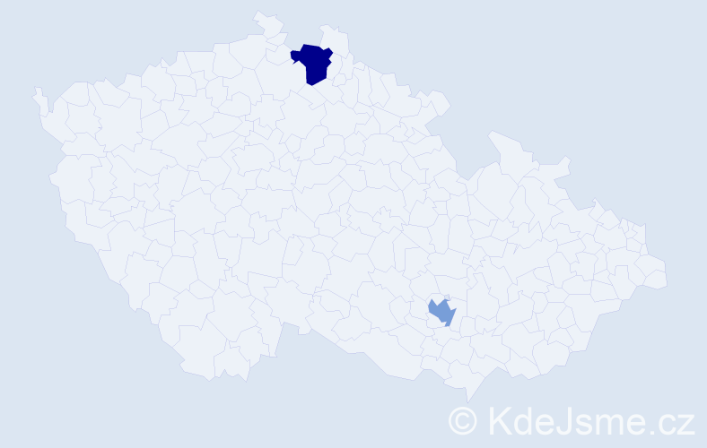 Příjmení: 'Bangerter', počet výskytů 5 v celé ČR