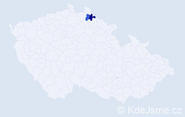 Příjmení: 'Harmanošová', počet výskytů 5 v celé ČR