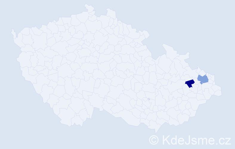 Příjmení: 'Jablońská', počet výskytů 4 v celé ČR