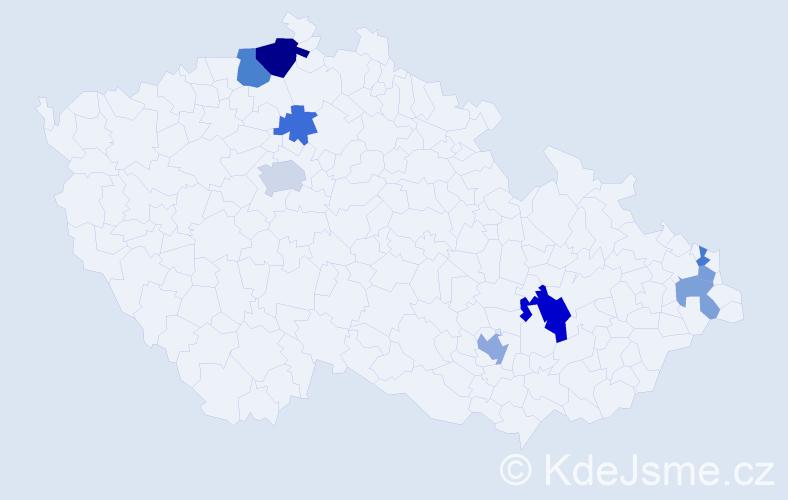 Příjmení: 'Jandušík', počet výskytů 16 v celé ČR