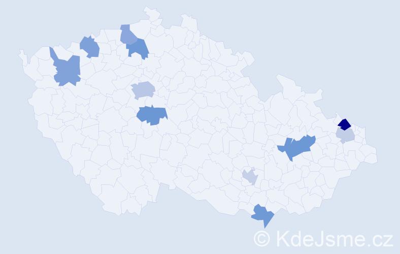 Příjmení: 'Cimová', počet výskytů 16 v celé ČR