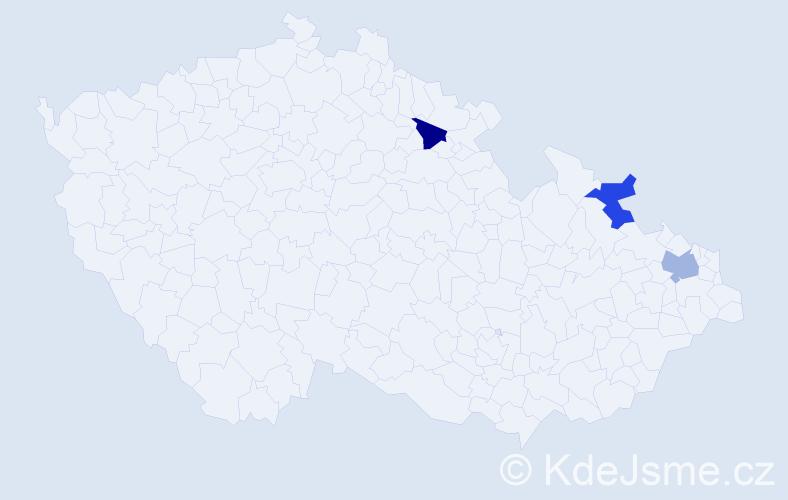 Příjmení: 'Grigoriadu', počet výskytů 13 v celé ČR