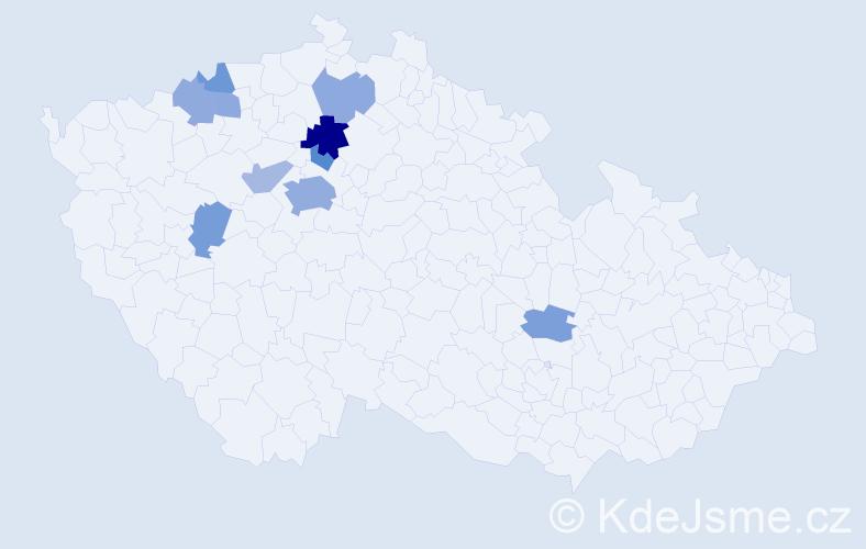 Příjmení: 'Konětopská', počet výskytů 20 v celé ČR