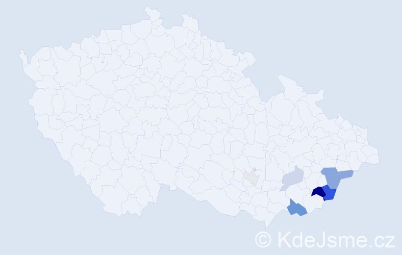 Příjmení: 'Koncer', počet výskytů 15 v celé ČR