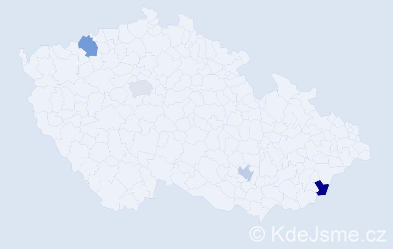 Příjmení: 'Jacob', počet výskytů 4 v celé ČR