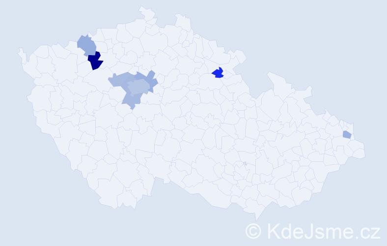 Příjmení: 'Emrlová', počet výskytů 14 v celé ČR