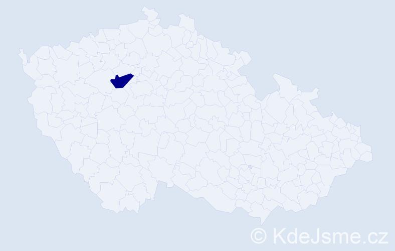 """Příjmení: '""""Kašparová Danešová""""', počet výskytů 1 v celé ČR"""