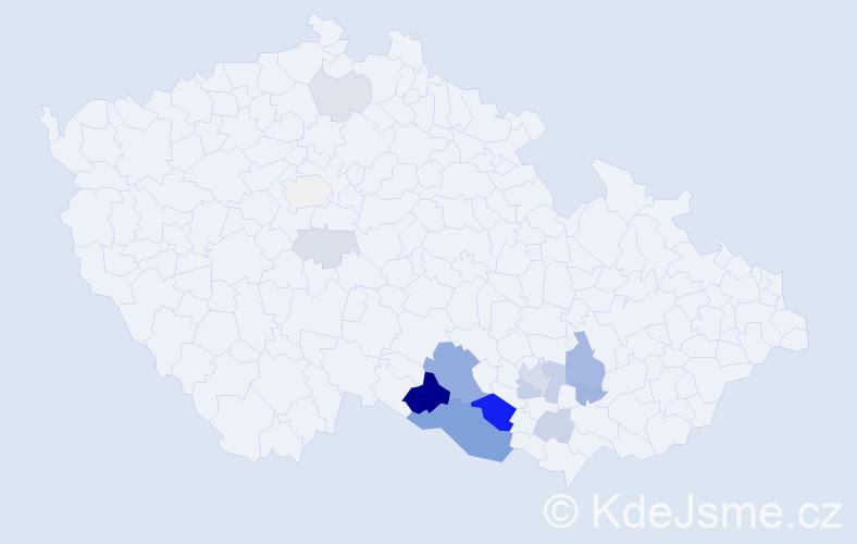 Příjmení: 'Iran', počet výskytů 43 v celé ČR