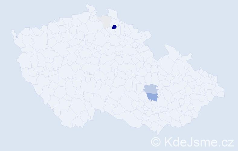 Příjmení: 'Faltinek', počet výskytů 17 v celé ČR