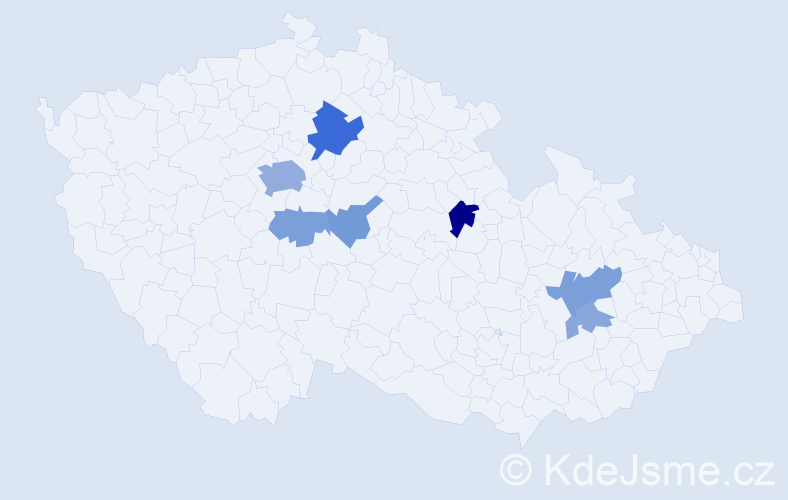 Příjmení: 'Hornyák', počet výskytů 18 v celé ČR