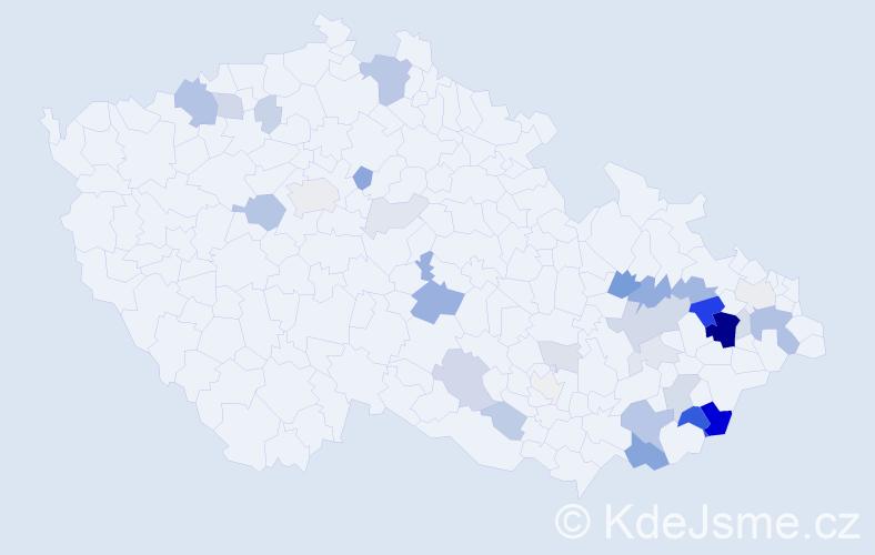 Příjmení: 'Jakůbek', počet výskytů 97 v celé ČR