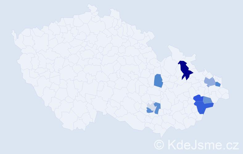 Příjmení: 'Čampa', počet výskytů 19 v celé ČR