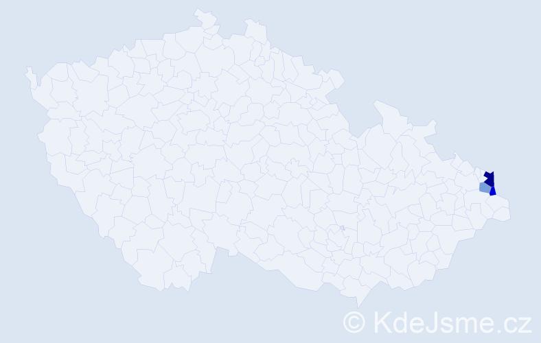 Příjmení: 'Lavrenčiková', počet výskytů 5 v celé ČR